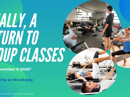 RETURN TO GROUP CLASSES - schedule from 9 November 2020