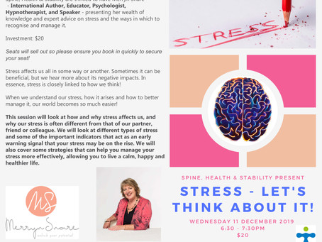 """Upcoming Talk: """"Stress - let's think about it!"""""""