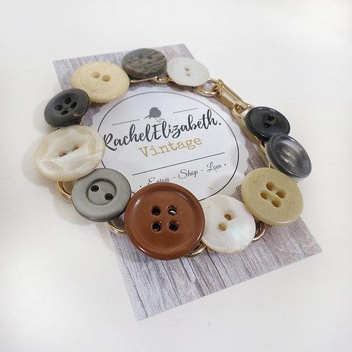Vintage Button Link Bracelet
