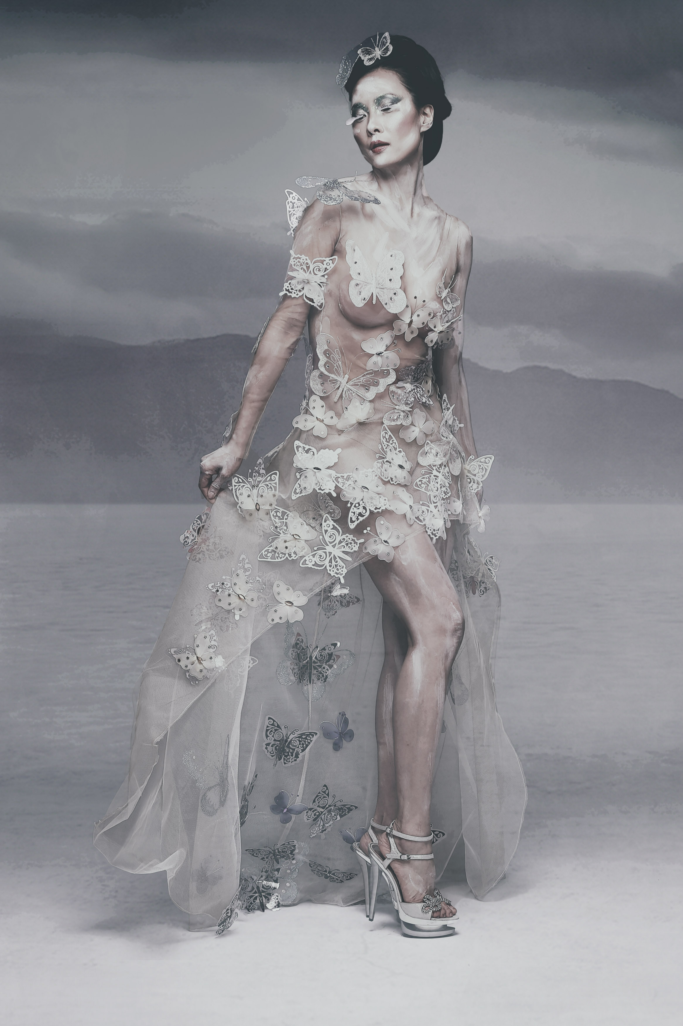 Linea dell'abito con farfalle con gonna a ruota