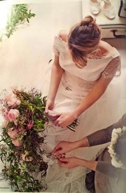 Particolare dell'abito da sposa in plumetì e taffetas anni '50