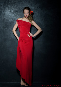 Scollo assimetrico come la lunghezza per l abito da sera rosso di maglina.