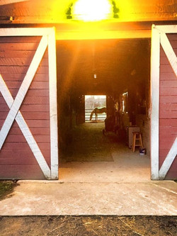 Looking through Barn Aisle