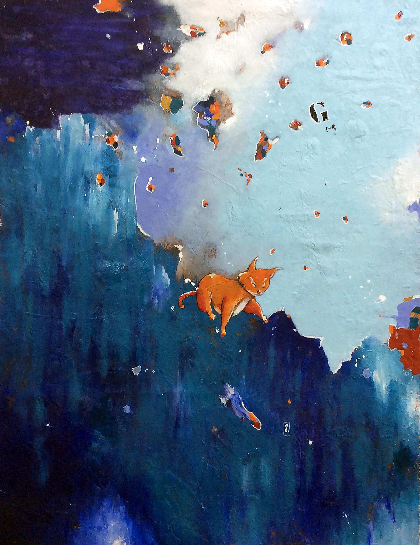 Gato Cheshire em campo azul