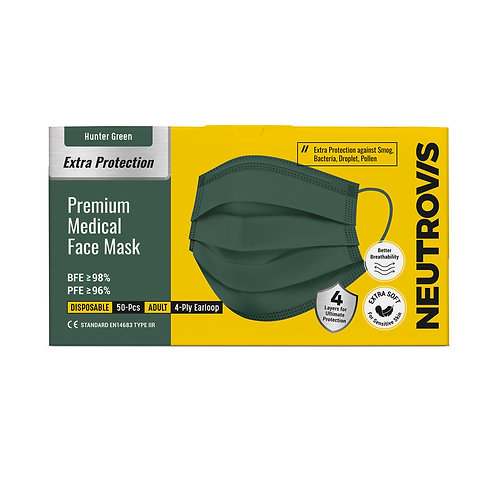 Premium Medical Face Mask 4-ply Series - Hunter Green