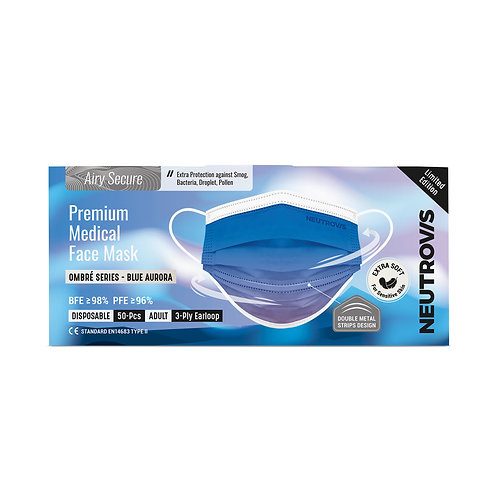 Airy Secure Premium Medical Face Mask | Ombre Series- Blue Aurora