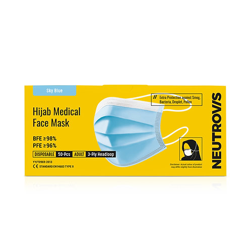 Neutrovis Hijab Medical Face Mask | 3ply | Sky Blue