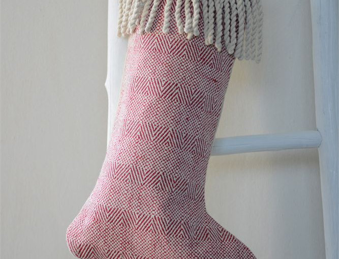 Red/White Cotton Stocking with Fringe