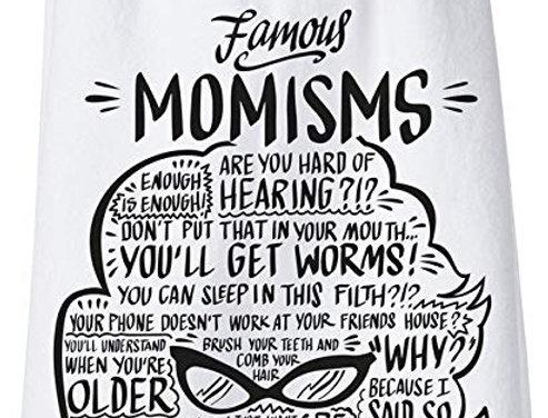 'Famous momisms' tea towel