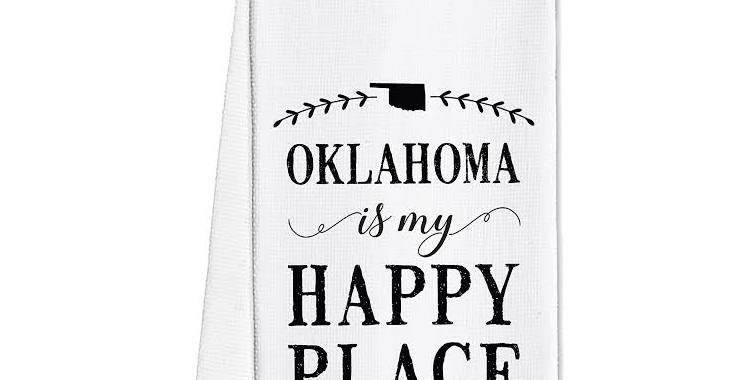 Oklahoma is my happy place tea towel