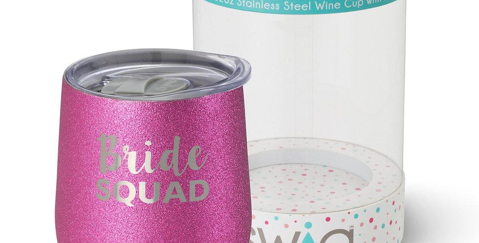 Bride Squad 12 oz wine cup