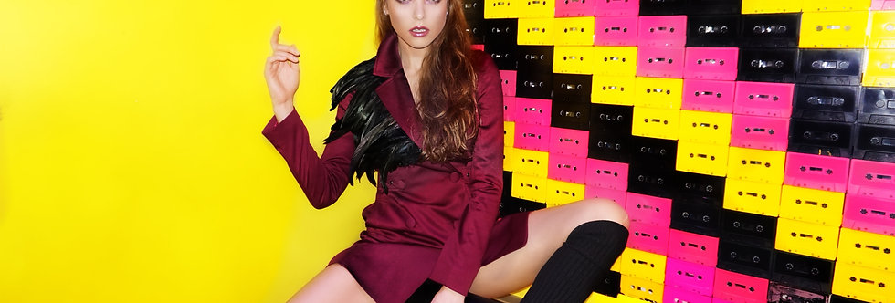Violet jacket-dress with feathers