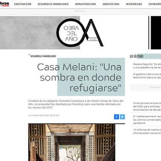 """Publicación en Revista OBRAS  Casa Melani: """"Una sombra en donde refugiarse"""""""