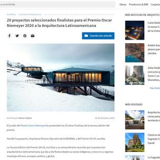 20 proyectos seleccionados finalistas para el Premio Oscar Niemeyer 2020