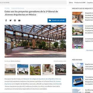 Estos son los proyectos ganadores de la 3ª Bienal de Jóvenes Arquitectos en México en ArchDaily