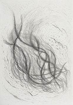 Crash 2, graphite on paper 2020, Alisa Chunchue