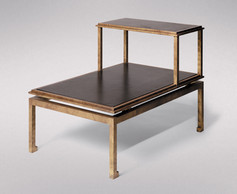 MODERNE GILDED IRON AND LEATHER SIDE TABLE