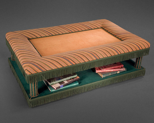 """A FANCIFUL """"ONE OF A KIND"""" CONTEMPORARY TWO-TIERED UPHOLSTERED LOW TABLE BY RICHARD SHAPIRO"""