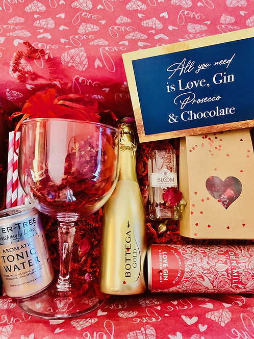 Gin, Prosecco & Chocolate Valentines Gift Set