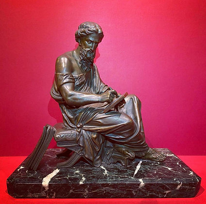 19th Century Seated Bronze figure of Plato (signed Moreau)