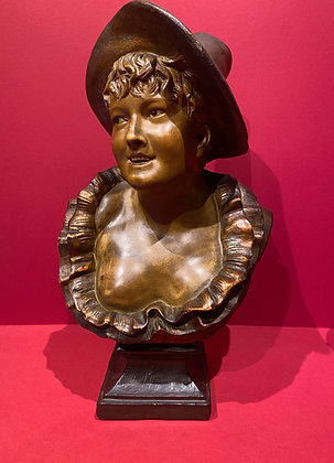 Victorian Terracotta Bust of Female a la Folies Bergere