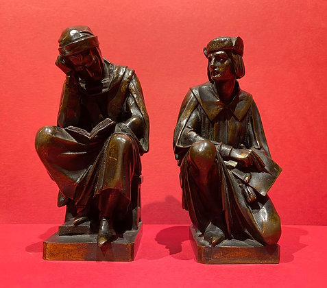 Bronze Bookends of Dante and Raphael