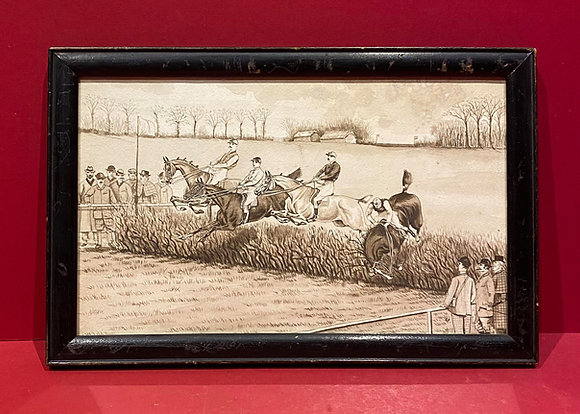 Monochrome Watercolour of Cross Country Horse Race