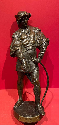 Bronze of 13th Century Archer, stringing his bow.