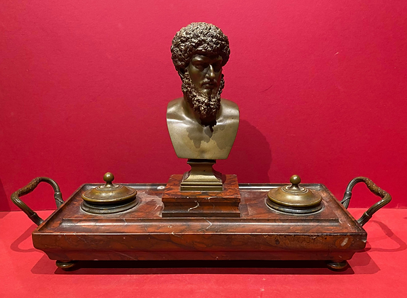 Bronze and Rouge Marble Desk Set
