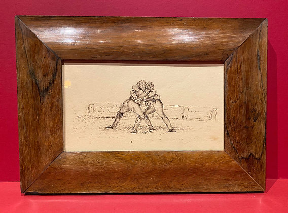 Early 19th Century Pen & Ink sketch of Wrestlers