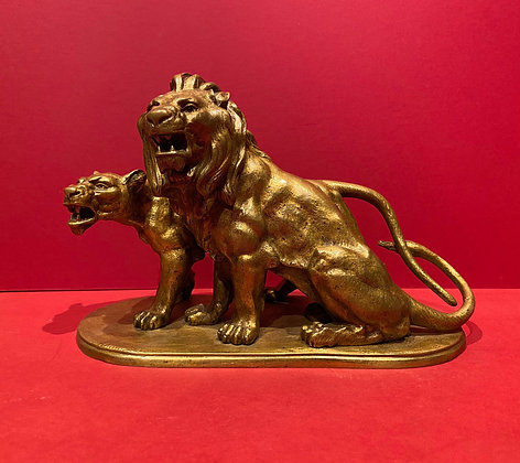 19th Century Gilt Bronze Lion & Lioness