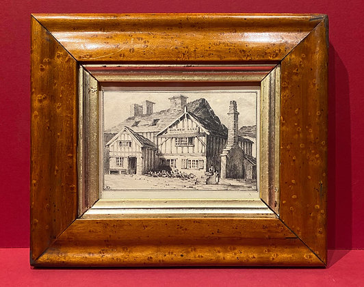 Victorian Pencil Sketch of Olde English Tavern 'The Golden Lion'