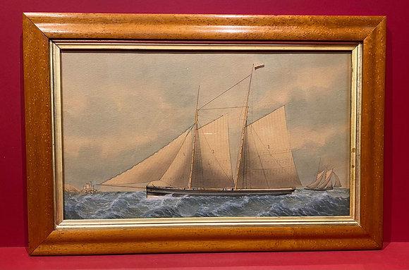 Victorian Maritime Watercolour in Birdseye Maple