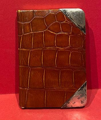 Edwardian Crocodile Skin Notebook with Silver Trim