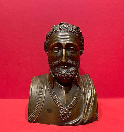 Superb Miniature Bronze Bust of Henry IV of France