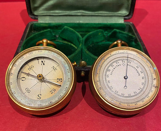 19th Century Pocket Barometer and Compass Set