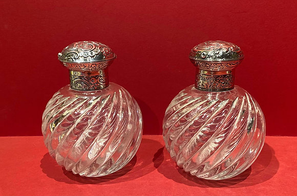 Pair of  19th Century Silver topped, Glass Scent Bottles