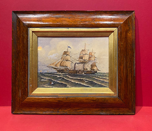 Mid 19th Century Watercolour of a Steamship