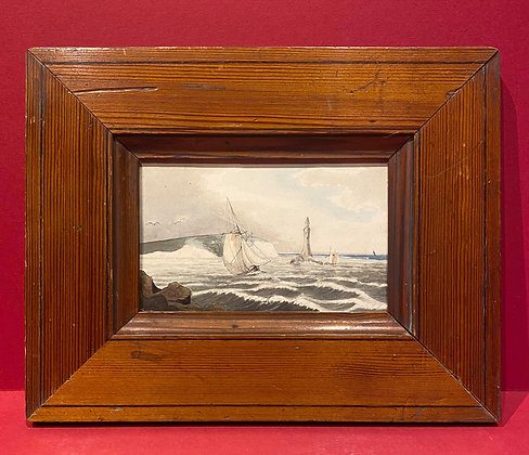 Victorian Watercolour of a sailing boat on rough seas