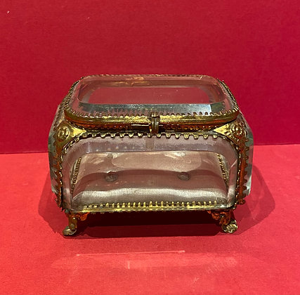 19th Century Crystal Glass & Gilt Jewel Casket