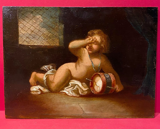 Oil Painting on Board of the Fallen Putti