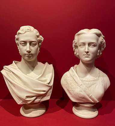 Pair of Parian Busts: Prince Albert Edward and Princess Alexander of Denmark