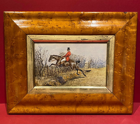 Signed Watercolour of Mounted Huntsman