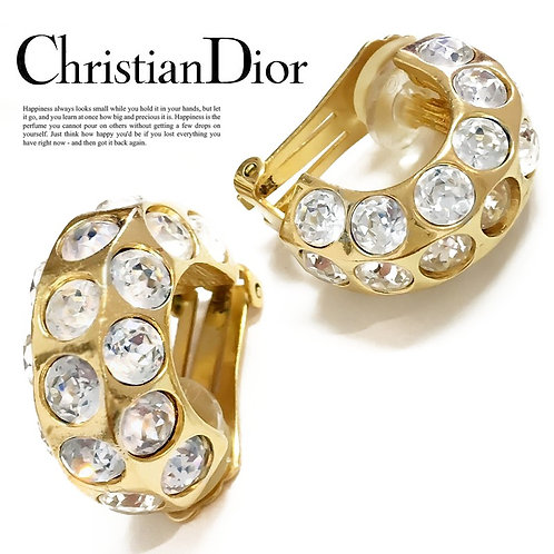 【Vintage】Christian Dior / クリスチャン ディオール ラインストーン イヤリング