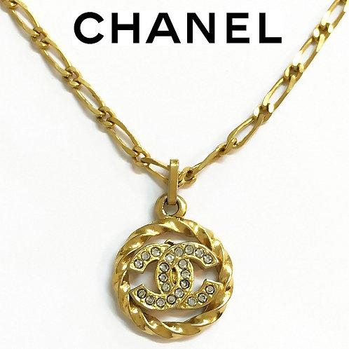 CHANEL / シャネル ヴィンテージ ココマーク ラインストーン ネックレス