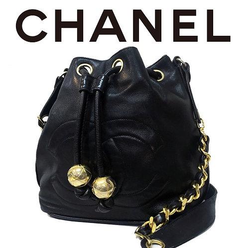 CHANEL / シャネル ポーチ付き ココマーク ラムスキン巾着チェーンショルダーバッグ
