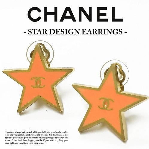 CHANEL/ シャネル ココマーク 星デザイン STARイヤリング オレンジピンク×ゴールド