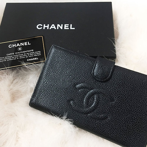 CHANEL / シャネル キャビアスキン 二つ折り長財布
