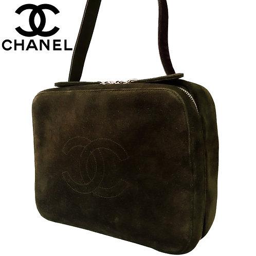 CHANEL / シャネル ココマーク スエードハンドバッグ カーキ