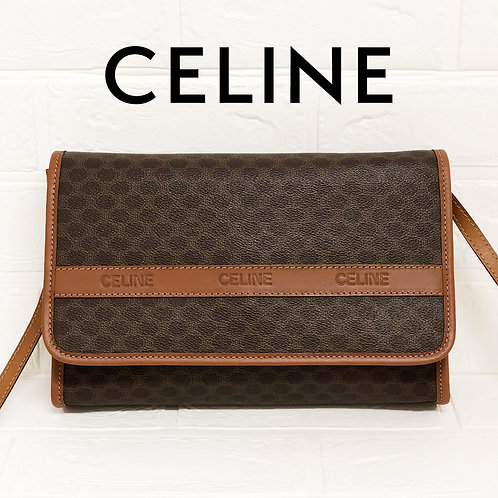 CELINE/セリーヌマカダム柄ロゴ型押しショルダーバッグ